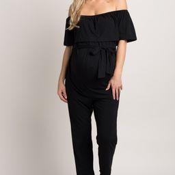 Black Sash Tie Off Shoulder Ruffle Maternity Jumpsuit | PinkBlush Maternity