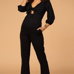 Waverleigh Black Knotted Top 3/4 Sleeve Maternity Jumpsuit | PinkBlush Maternity