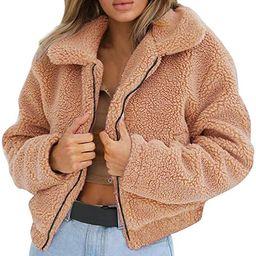 Womens Ladies Warm Artificial Wool Zipper Jacket Coat Winter Parka Outerwear | Amazon (US)