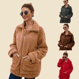 Women's Faux Fur Jacket Shaggy Jacket Winter Fleece Coat Outwear Shaggy Shearling Jacket | Amazon (US)