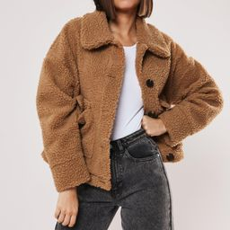 Tan Cropped Borg Teddy Trucker Jacket | Missguided (US & CA)