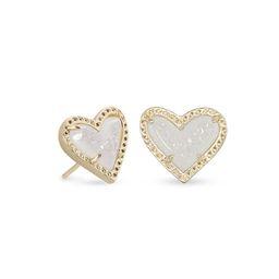 Ari Heart Gold Stud Earrings in Iridescent Drusy   Kendra Scott