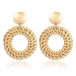 GBLW Rattan Straw Dangle Earrings Boho Wicker Woven Handmade Earrings Lightweight Geometric Drop ... | Amazon (US)