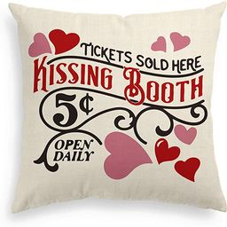 AVOIN Valentine's Day Kissing Booth Throw Pillow Cover Love Heart, 18 x 18 Inch Holiday Anniversa... | Amazon (US)