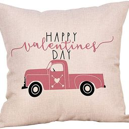 Softxpp Happy Valentine's Day Vintage Pink Truck Love Heart Throw Pillow Cover Farmhouse Decor ...   Amazon (US)