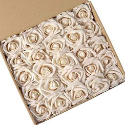 N&T NIETING Artificial Flowers Roses, 25pcs Real Touch Artificial Foam Roses Decoration DIY for W... | Amazon (US)