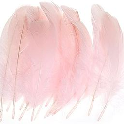 AWAYTR 100 Pcs Nature Goose Feathers for DIY Craft Wedding Home Party Decorations (Pink) | Amazon (US)