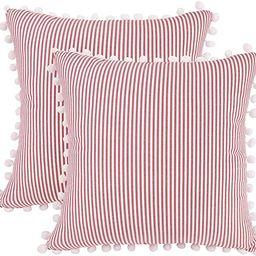 JASEN Farmhouse Stripe Decorative Pillow Covers, Set of 2 Red and White Cotton Woven Decorative T... | Amazon (US)