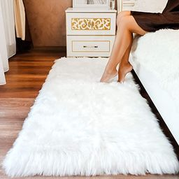 Premium Faux Sheepskin Fur Rug White - 2.3x5 feet - Best Extra Long Shag Pile Carpet for Bedroom ... | Amazon (US)
