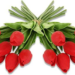 EZFLOWERY 20 Heads Artificial Tulips Flowers Real Touch Arrangement Bouquet for Home Room Office ... | Amazon (US)