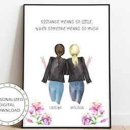 Best Friend Print Personalized, Birthday Gift, Custom Sister Gift, Long Distance Gift, Friendship...   Etsy (US)