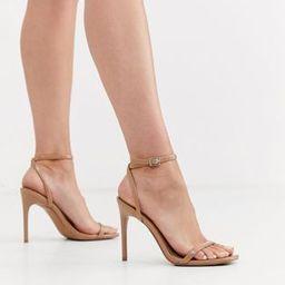 ASOS DESIGN Nova barely there heeled sandals in beige   ASOS UK