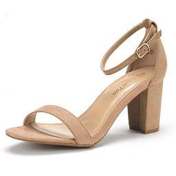 DREAM PAIRS Women's Chunk Low Heel Pump Sandals | Amazon (US)