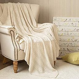 jinchan Throw Blanket Ivory Lightweight Cable Knit Sweater Style Year Round Gift Indoor Outdoor T... | Amazon (US)