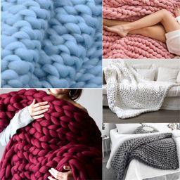 "47"" x 59"" Hand Chunky Knit Blanket Thick Yarn Bulky Bed Sofa Spread Throw Soft & Warm Hand Knit B...   Walmart (CA)"
