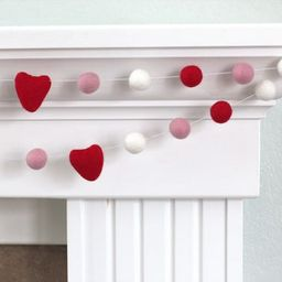 Red, Pink, White Felt Ball & Heart Garland - Valentines Holiday Party Nursery Childrens Room Deco...   Etsy (US)
