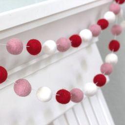 Valentine's Felt Garland- Red, Light Pink & White- Valentines Holiday Party Nursery Childrens Roo...   Etsy (US)