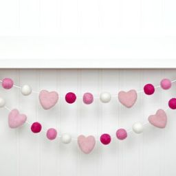 Felt Ball Garland, Valentines Pom Pom Garland, Valentines Felt Banner, Valentines Day Decor, Vale...   Etsy (US)