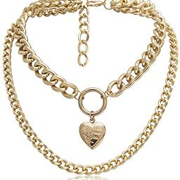 Eoumy Gold Layered Metal Chain Chunky Choker Necklace for Women Light Weight Punk Chain Chunky Ch... | Amazon (US)