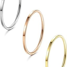 1mm Stainless Steel Women's Plain Band Stacking Midi Rings Comfort Fit Wedding Band Ring | Amazon (US)