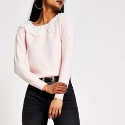 Petite pink broderie pearl collar knit jumper | River Island (UK & IE)