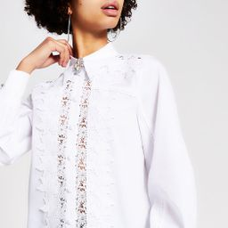 White lace diamante brooch shirt | River Island (UK & IE)