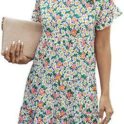 2020 Women's Summer Short Sleeves Mini Dress Floral Print Crew Neck High Waist Loose Fit Ruffle... | Amazon (US)