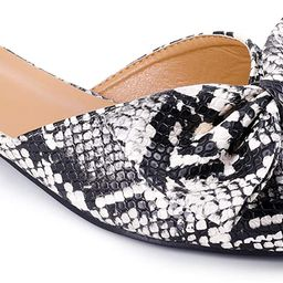 Women's Pointy Toe and Bow Flat Mule Slides | Amazon (US)
