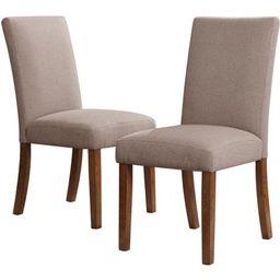 Dorel Living Linen Parsons Chair, Set of 2, Dark Pine with Gray Seats | Walmart (US)