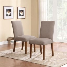 Dorel Living Taupe Linen Parsons Chairs (Set of 2) | Overstock