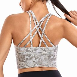 Strappy Sports Bras for Women Longline Wirefree Padded Medium Support Yoga Bra Top | Amazon (US)