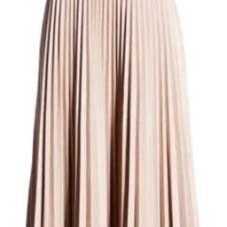 x Atlantic-Pacific Pleated Croc Faux Leather Midi Skirt | Nordstrom