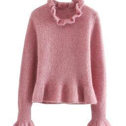'Kelsey' Ruffled-neck Wool Sweater | Goodnight Macaroon