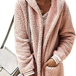 Women's Jacket Fleece Long Sleeve Open Front Hooded Jackets Cardigan Coat Top Winter Outwear with... | Amazon (US)