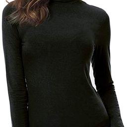 VOBCTY Womens Long Sleeve Turtleneck Lightweight Slim Active Shirt | Amazon (US)