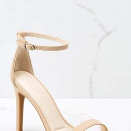It's Your Moment Nude Ankle Strap Heels   Red Dress