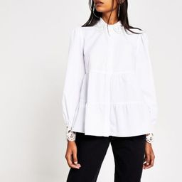 White embroidered collar smock shirt | River Island (UK & IE)