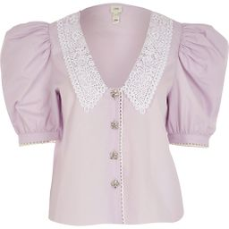 Purple lace collar embellished button shirt | River Island (UK & IE)