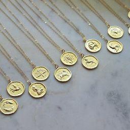 Gold Zodiac Necklace, Zodiac Coin Necklace, Zodiac Disc Necklace, Gold Zodiac Jewelry, Celestial ... | Etsy (US)