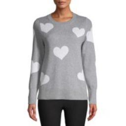 Time and Tru Women's Heart Sweater | Walmart (US)