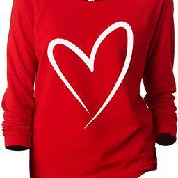 Simply Heart Women's Slouchy 3/4 Sleeves Raglan Sweatshirt Red | Amazon (US)