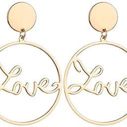 Simple Love Letter Large Hoop Dangle Earrings For Women Gold Silver Color Punk Big Circle Drop Ea... | Amazon (US)