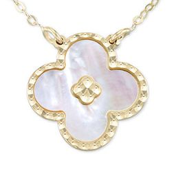 """Mother-of-Pearl Clover 18"""" Pendant Necklace in 10k Gold 