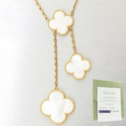 """Van Cleef & Arpels 18k Yellow Gold Mother-of-Pearl Magic Alhambra 17"""" Necklace  
