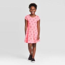 Girls' Short Sleeve Hearts Knit Dress - Cat & Jack™ Coral | Target