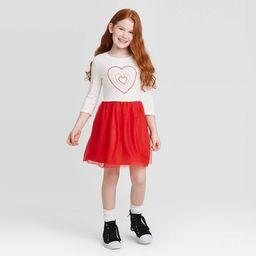 Girls' Long Sleeve Heart Dress - Cat & Jack™ Cream/Red | Target