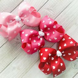 Pink or Red Valentine's Day Hair Bows, Valentine Hearts Bow, Heart Hair Bow, Valentine Hair Bow, ... | Etsy (US)