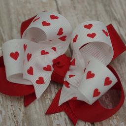 Valentine Hair Bow Red Heart Hair Bow Girls Valentine Bow Boutique White With Red Hearts Layered ... | Etsy (US)