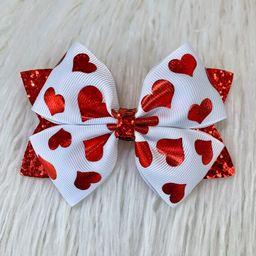 Red Hearts Glitter Hair Bow, Valentines Hair Clip, Red Hearts Baby Headband | Etsy (US)