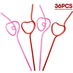 Heart Shaped Drinking Straws Krazy Loop - Valentines Day Party Supplies Decorations 36Ct | Amazon (US)